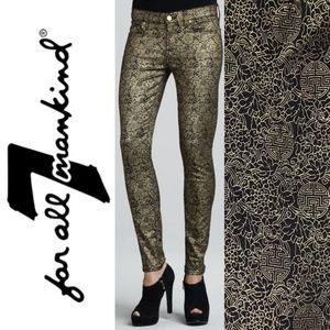 7FAM The Skinny Medallion Gold Asian Print Jeans